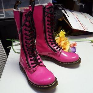 Womens pink Dr. MARTENS tall zipup moto boots sz 8
